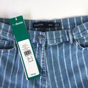 NWT Long Tall Sally Vertical Stripe Slim Leg Denim Jeans Size 10
